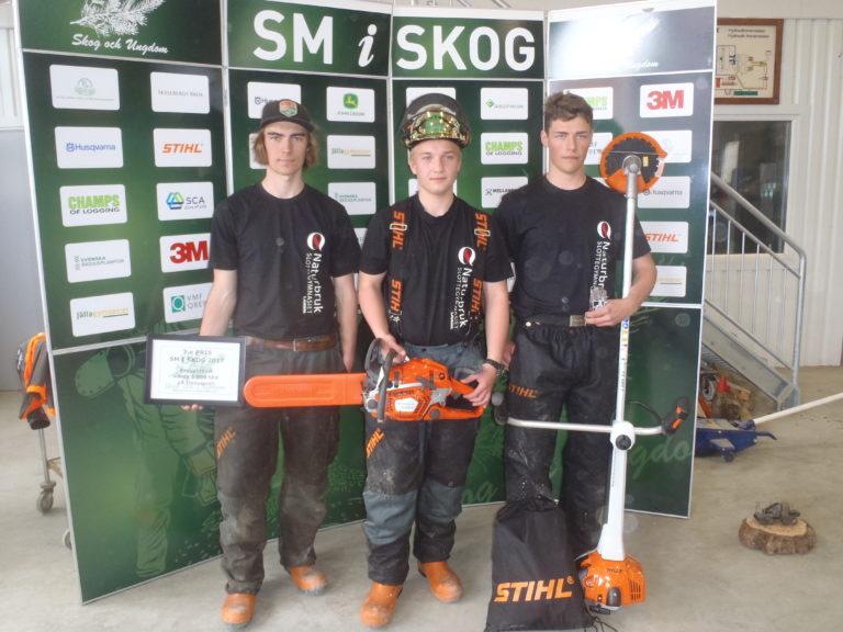 Vinnare från Skol- klassen; 1:a Elias Larsson, 2:a Daniel Westlund och 3:a Ossian Persson